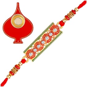 Om Jewells Gold Platted Red and Green Meenakari Delicate Designer Rakshabandhan Rakhi (Bracelet) Beautified with LCT and White Crystal Elements with Red Tilak Plate for Bhaiya/Brother RK1000330