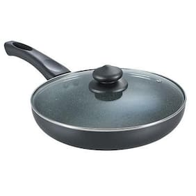 Prestige 24 cm Aluminium Non stick Induction Friendly Fry pan With lid - Set of 2