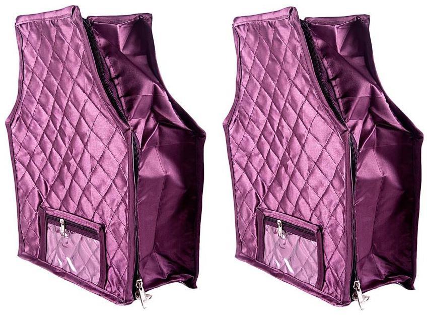 OmneityHuckster High Quality Multipurpose Satin Plain Blouse Cover 2PCs Capacity 10 15 Units Saree/Blouse Each   Purple