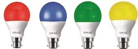 Onas 5 W Standard B22 LED Bulb  (Multicolor, Pack of 4)