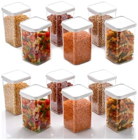 ONE8D Cereal Dispenser Easy Flow Storage Jar 1100 ml, Idle for Kitchen- Storage Box Lid Food Rice Pasta Pulses Container, Square Containers for Kitchen Set of 12
