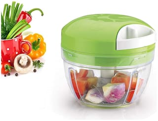 ONE8D Plastic 4 Blade Chopper With Stainless Steel Blade, Quick Chopper Vegetable and Dry Fruit Cutter Green Vegetable Chopper Vegetable & Fruit Chopper By Fortune Tradelink