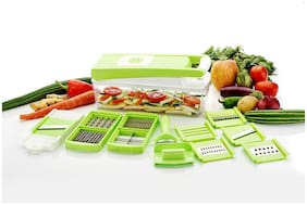 ONE8D Vegetable & Fruits 12 Cutter,Blades Slicer, Dicer Grater & Chopper With Unbreakable ABS Body And Heavy Stainless Steel Blades Chopper (Green)