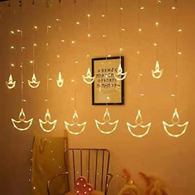 ONE94STORE Curtain LED String Lights 8 Function Modes for festival decoration (Warm White;Diya Curtain 10ft (6+6 Diyas)