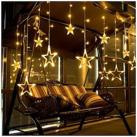 ONE94STORE Curtain String Lights with 12 Stars and 138 pcs and 8 Modes Lights for Home Decoration,Diwali,Christmas,Wedding,Birthday (Warm White)