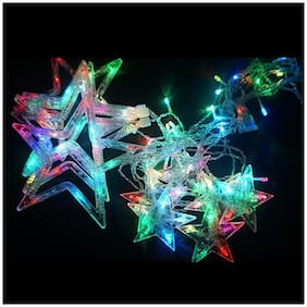 ONE94STORE Tree Decorative Star and Moon Curtain LED Lights for Diwali Christmas Wedding - 2.5m -Set of 1