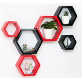 Onlineshoppee Set Of 6 Hexagon shape Designer Storage Shelves - Red & Black Size-lxbxh-10.5x4x10.5 Inch