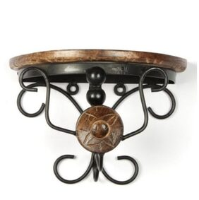 Onlineshoppee Beautiful wood & wrought iron Fancy Brown Wooden Handicrafts Bracket Holder