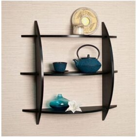 Onlineshoppee Beautiful Black 3 Tier Wooden Wall Shelves/Rack Size LxBxH-20x4x19 Inch