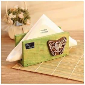 Onlineshoppee Butterfly Engraved Block Napkin Holder Green