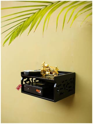 Onlineshoppee Wooden Beautiful Design Set top box Wall Shelf Colour-Black