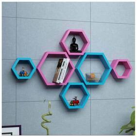 Onlineshoppee Set Of 6 Hexagon shape Designer Storage Shelves