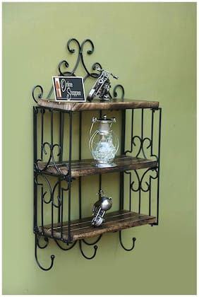 Onlineshoppee Home Decor 3 Shelf Book/ Kitchen Rack With Cloth/Cup Hanger Size(LxBxH-13x5x24) Inch