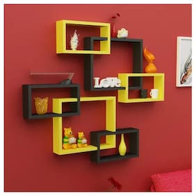 Onlineshoppee Intersecting MDF Wall Shelves Set of 6 - Yellow & Black