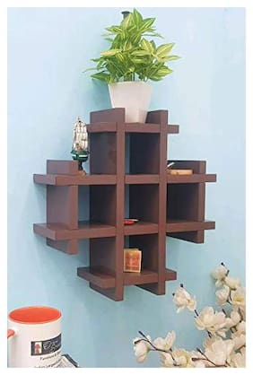 Onlineshoppee Wooden Multiple Compartments Floating Wall Shelf (33 cm X 10 cm X 33 cm, Brown)
