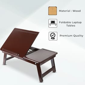 Onlineshoppee Premium Quality Wooden Laptop Table With Mobile Holder