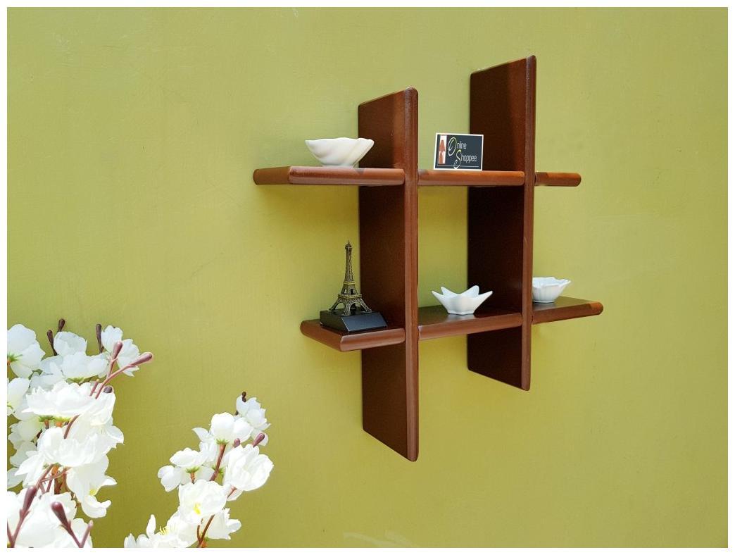 Onlineshoppee Beautiful Wooden Fancy Wall Decor Rack Shelves Size  LxBxH 15x4x15  Inch by Shiraz Handicrafts