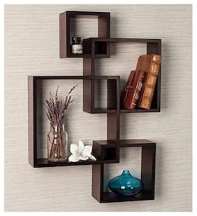Onlineshoppee Rafuf Intersecting Floating Wall Shelf with 4 Shelves (Standard, Brown)