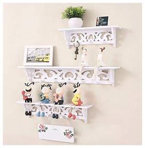 Onlineshoppee Wooden Decorative Floating Wall Shelf,White, Set of 3