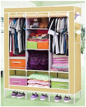 Only Imported.com 4.1 feet Folding Wardrobe Cupboard Almirah Foldable Storage Rack Collapsible Cabinet