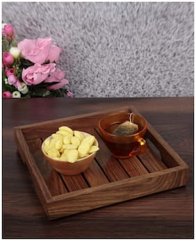 Onvay Sheesham Wood Serving Tray (8 X 8 inch) | Wooden Tray | Serving Tray | Tray Set | Tray Set For Serving | Tray For Kitchen | Tray For Office | Serving Tray For Kitchen | Corporate Gifts