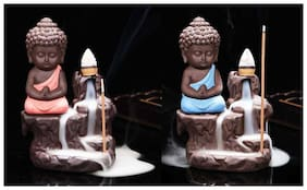 Onvay Smoke Buddha Decorative showpiece (Pack of 2) | Buddha Smoke Back flow Cone Incense Holder With 10 Sticks (Blue & Red) | Lord Buddha Smoke Fountain Statue