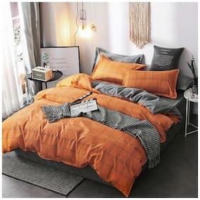 Orange Grid Simple Duvet Cover Set with Zipper Bedding Set Twin Queen King Size