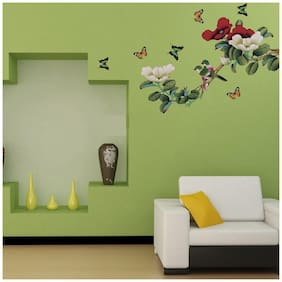 Oren Empower Multicolor Branch with cute Parrots wall sticker for bedroom (Wall Covering Area - 105 cm X 135 cm)