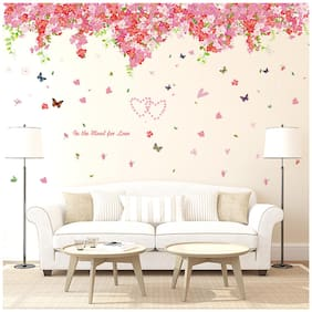 Oren Empower Pink Decorative Floral Art wall stickers for bedroom (Finished Size on Wall - 120 cm X 220 cm)