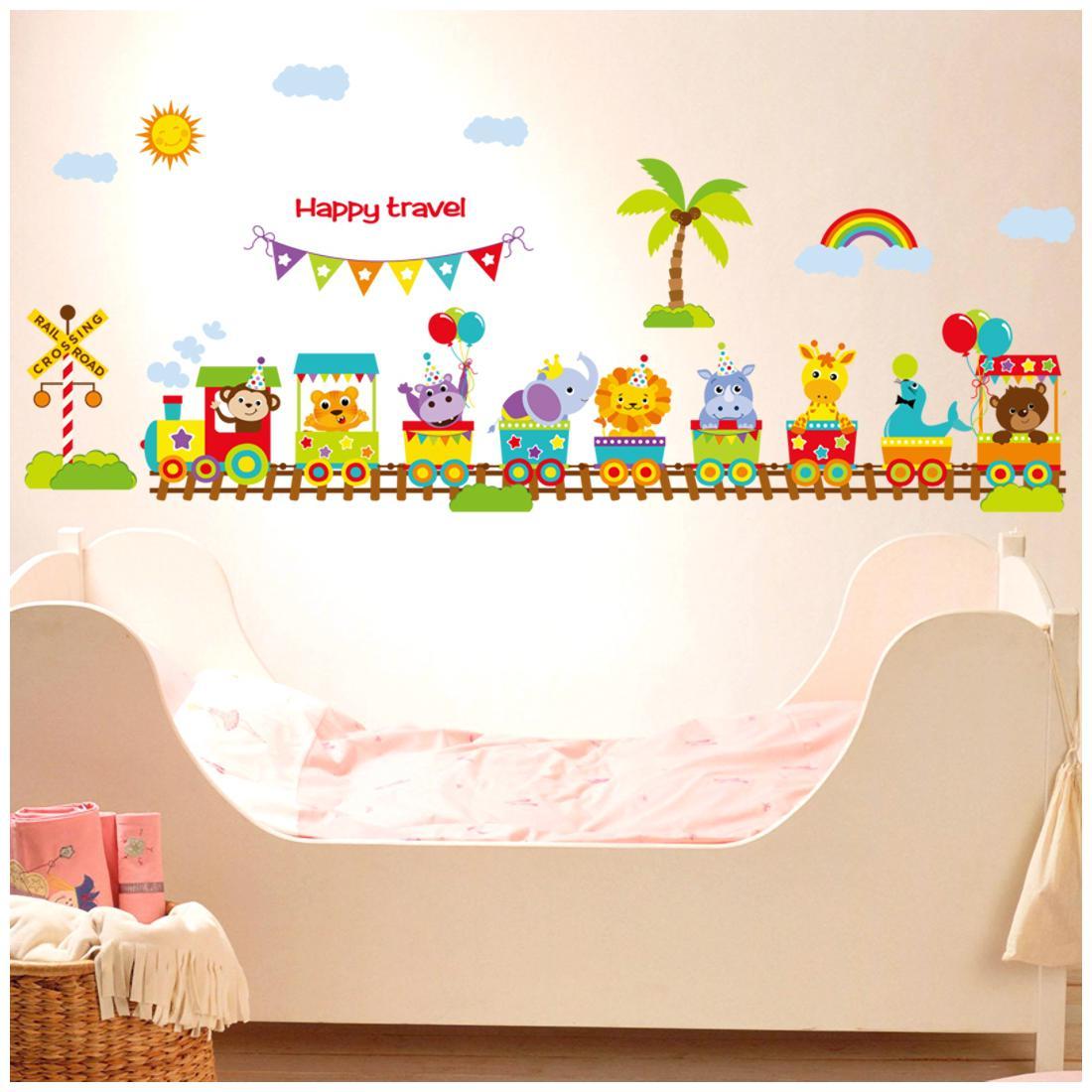 Oren Empower Multicolor Cute Cartoon Animals Train for Kids bedroom  Wall Covering Area   55 cm X 175 cm