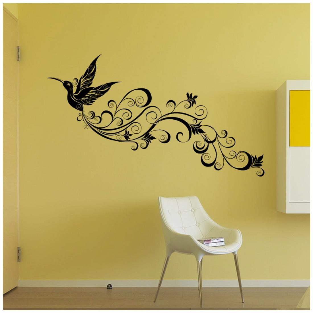 Oren Empower Creative Floral Peacock Wall Stickers For Living Room Finished Size On Wall 45 Cm X 140 Cm