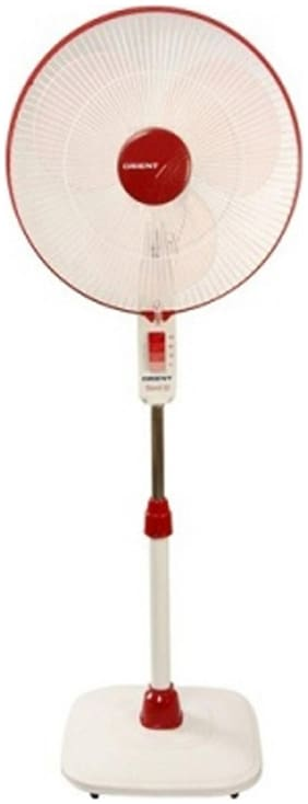 Orient Electric Stand 400 mm Decorative Pedestal Fan ( White , Red  )