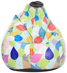 Orka Colourful Big Leafs Digital Printed Kids Filled Bean Bag