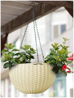 Oshigreens Plastic Hanging Vases With Hanging Hook Chain (Set Of 1)