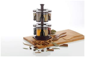 Osious Multipurpose Revolving Spice Rack And Round Shape Spice Storage;250Ml (Set Of 12)