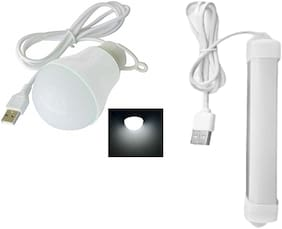Ossden Ossden USB Bulb WITH 5 Volts 5 Watts USB Tube Light High Brightness Along with 6 Feet Long Cable (White) - Combo Pack