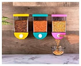 Ossden Plastic Jar Set of 3 ( 1100 ml , Multi )