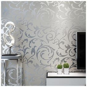 Ovoin  WP01 Grey Silver 3D Luxury Victorian Embossed Wallpaper Modern Floral Feature Design Wall Paper Roll Home Art D cor (0.53 * 10 Metres, 57 Sq Ft)
