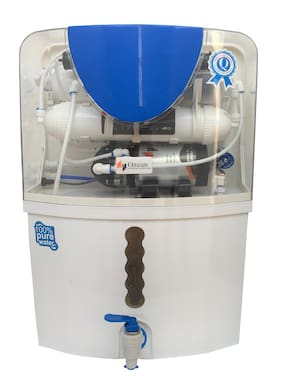 Ozean Dew 15 ltr RO+UV+UF+Mineral+TDS Controller With Mineral Electric Water Purifier (White)