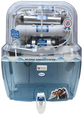Ozean Rivera Transparent 12 L RO + UV + TDS Controller With Mineral Electric Water Purifier