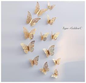 P S Retail 12pcs 3D Pvc Wall Stickers Butterflies, Metallic Golden C
