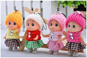 P S Retail Mini Doll for Girls, 8cm (Multicolour) - Pack of 4