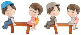 P S Retail Sweety Lovers Couple Figurines Miniatures -Style 3-(4 pcs figures with 2 benches)/set