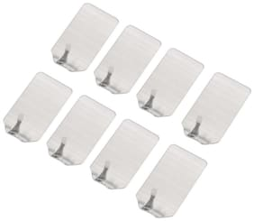 P S Retail Stainless Steel Wall Hooks with Strong Adhesive- (8pcs/Set)