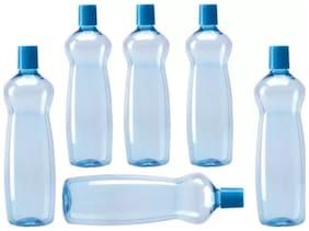 VJ Plastic Blue Water Bottle ( 1000 ml , Set of 6 )