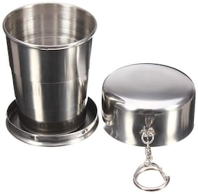 Folding Glass for Travel Foldable Stainless Steel Pocket Drinking Glass ( 1 pc. )