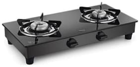 Padmini 2 Burners Stainless Steel With Glass Top Gas Stove - Black , Auto Ignition