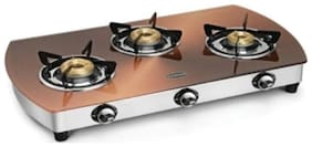 Padmini 3 Burners Stainless Steel With Glass Top Gas Stove - Assorted , Auto Ignition