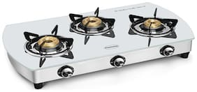 Padmini 3GT WHITE CURVE AUTO 3 Burners Stainless Steel Gas Stove - Assorted , Auto Ignition