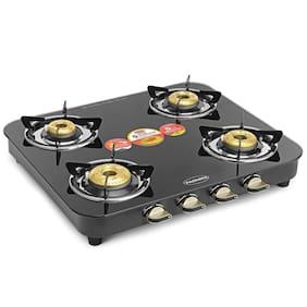 Padmini CS 4GT DX HF 4 Burner Regular Black Gas Stove ,